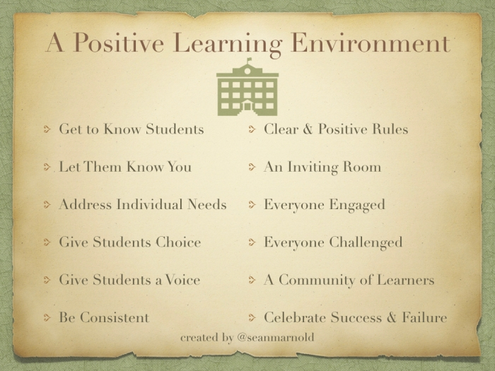 positive learning environment Creating a positive learning environment will optimize student learning, help you build a cohesive classroom community and create a pleasant work environment for both you and your students.