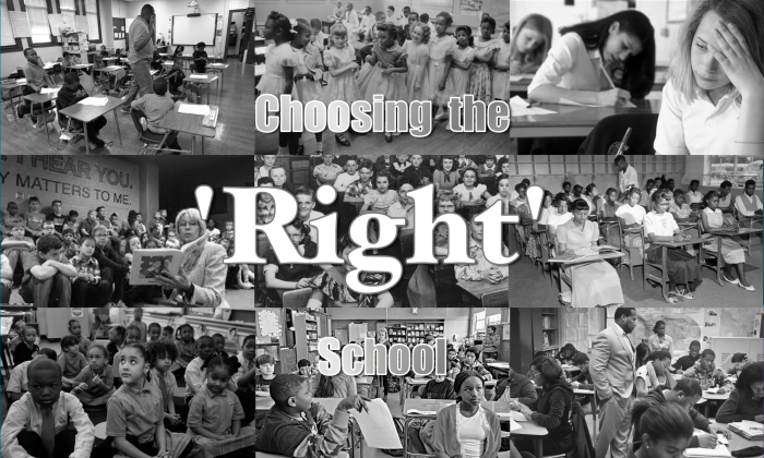 9 black and white images of alternately segregated and integrated schools.