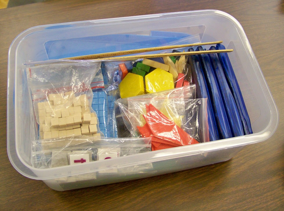 tub of math manipulatives