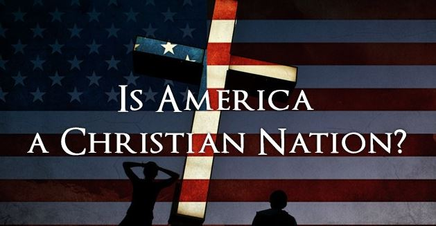 Is America A Christian Nation? with flag and cross background