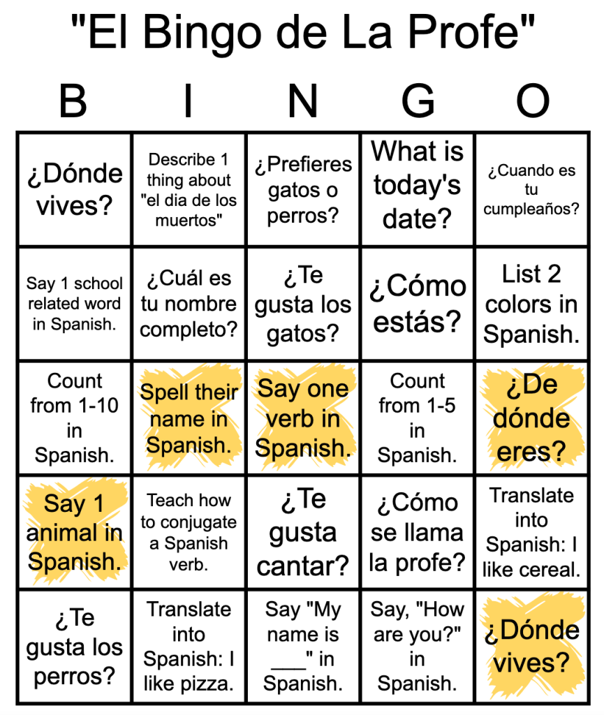 spanish language bingo