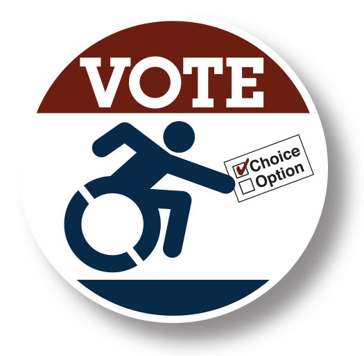 Voting button with a wheelchair icon