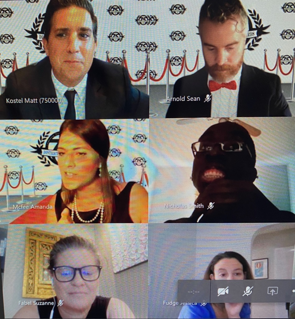6 people in a web meeting dressed formally