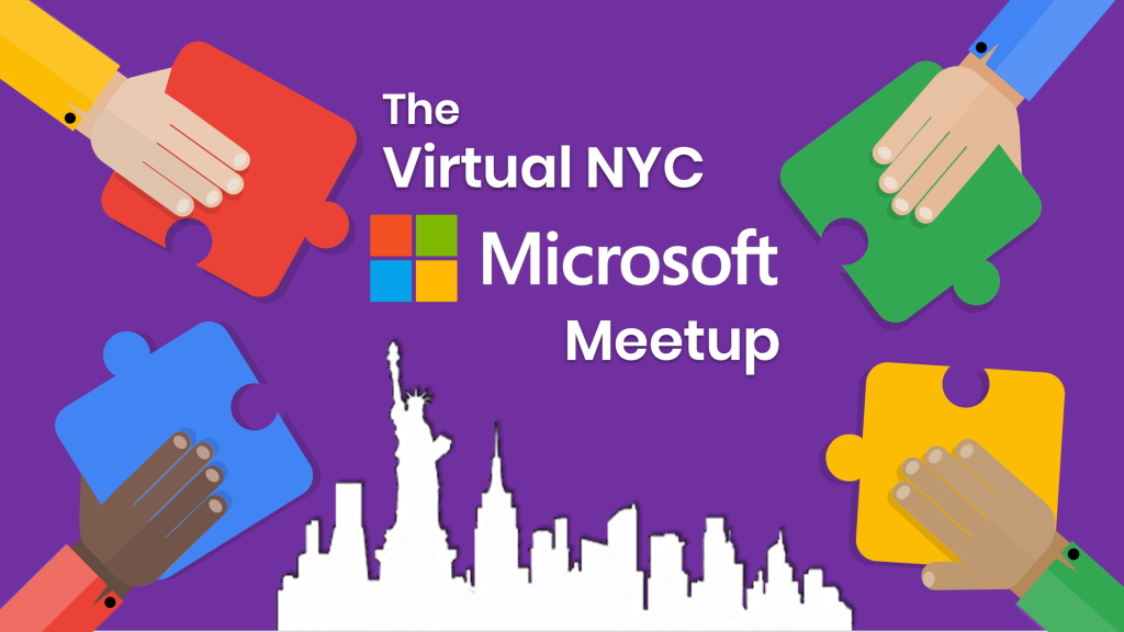 The Virtual Microsoft Meetup with four hands holding puzzle pieces