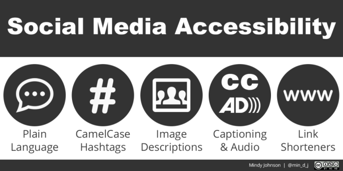 The 5 categories of Social Media Accessibility with icons for them